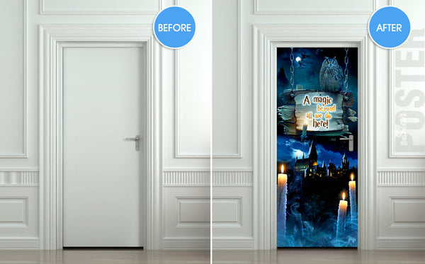 "Door STICKER fantasy unreal mural owl decole film self-adhesive poster 30""x79""(77x200 cm) - Pulaton stickers and posters  - 2"