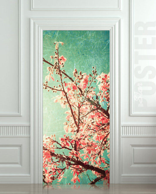 "Door STICKER tree apple garden plum mural decole film self-adhesive poster 30""x79""(77x200 cm) - Pulaton stickers and posters  - 1"