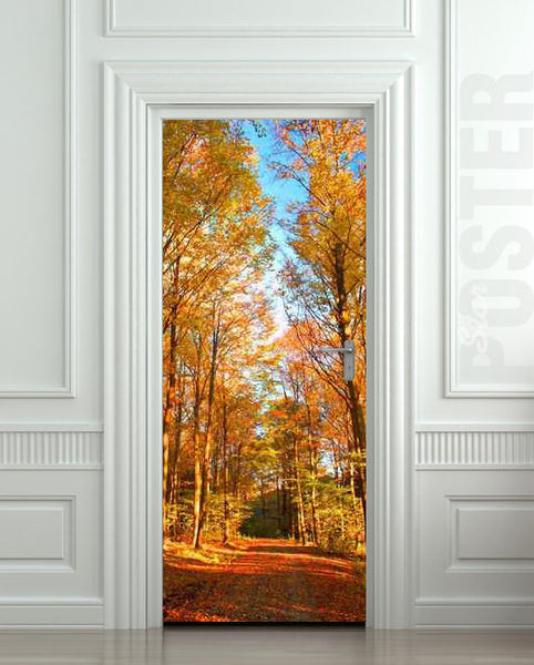 "Door STICKER road landscape seasonal fall autumn mural decole film self-adhesive poster 30""x79""(77x200 cm) - Pulaton stickers and posters  - 1"