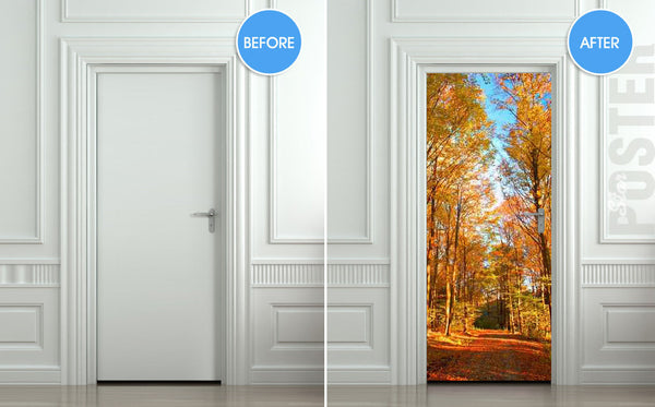"Door STICKER road landscape seasonal fall autumn mural decole film self-adhesive poster 30""x79""(77x200 cm) - Pulaton stickers and posters  - 2"