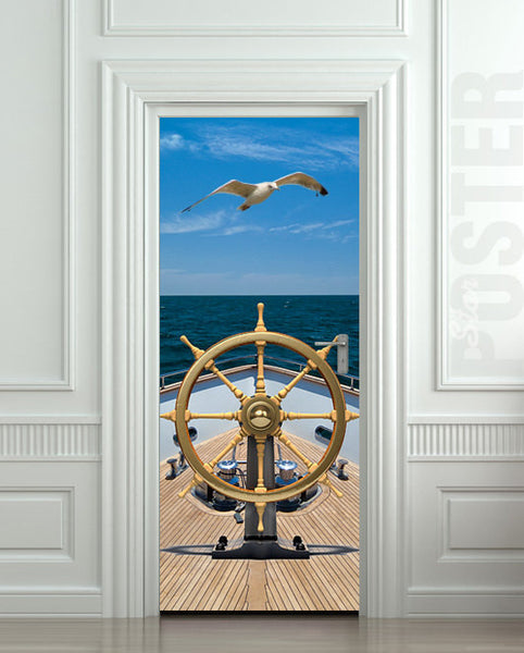 "Door STICKER ship sea captain trevel ocean gull bird mural decole film self-adhesive poster 30""x79""(77x200 cm) - Pulaton stickers and posters  - 1"