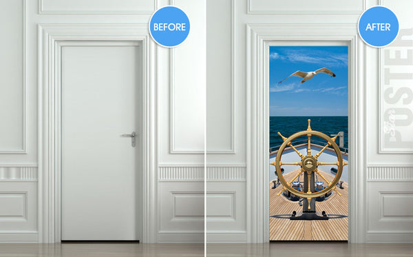 "Door STICKER ship sea captain trevel ocean gull bird mural decole film self-adhesive poster 30""x79""(77x200 cm) - Pulaton stickers and posters  - 2"