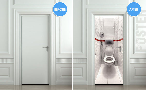 "Door STICKER WC water closet toilet bathroom mural decole film self-adhesive poster 30""x79""(77x200 cm) - Pulaton stickers and posters  - 2"
