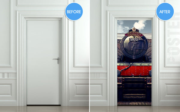 "Door STICKER hogwarts express train Harry Potter mural decole film self-adhesive poster 30""x79""(77x200 cm) - Pulaton stickers and posters  - 2"