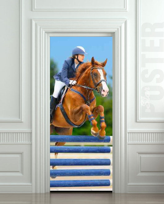 "Door STICKER horse horseman rider jockey race sport mural decole film self-adhesive poster 30""x79""(77x200 cm) - Pulaton stickers and posters"