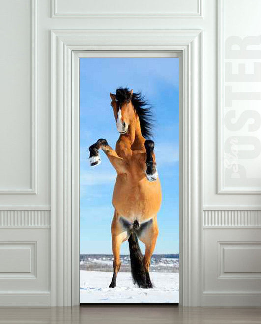 "Door STICKER horse mare mustang hoof mural decole film self-adhesive poster 30""x79""(77x200 cm) - Pulaton stickers and posters"