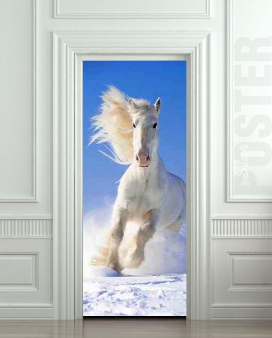 "Door STICKER snow horse mare mustang hoof ride mural decole film self-adhesive poster 30""x79""(77x200 cm) - Pulaton stickers and posters"