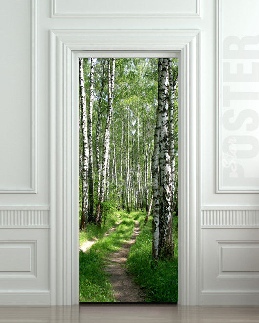 "Door STICKER wood tree forest birch way mural decole film self-adhesive poster 30""x79""(77x200 cm) - Pulaton stickers and posters  - 1"