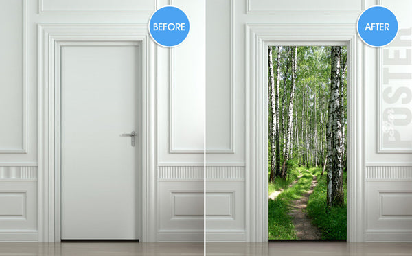 "Door STICKER wood tree forest birch way mural decole film self-adhesive poster 30""x79""(77x200 cm) - Pulaton stickers and posters  - 2"