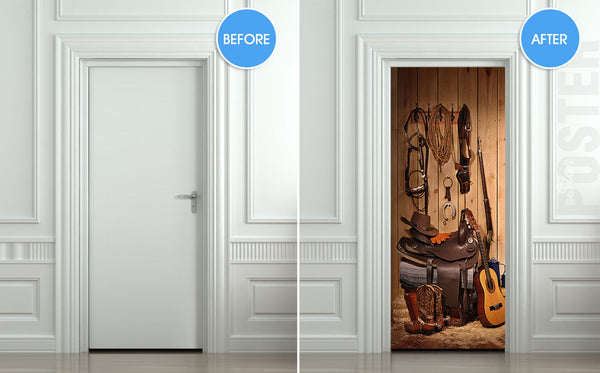 "Door STICKER cowboy storeroom  larder pantry lumber boxroom mural decole film self-adhesive poster 30""x79""(77x200 cm) - Pulaton stickers and posters  - 2"