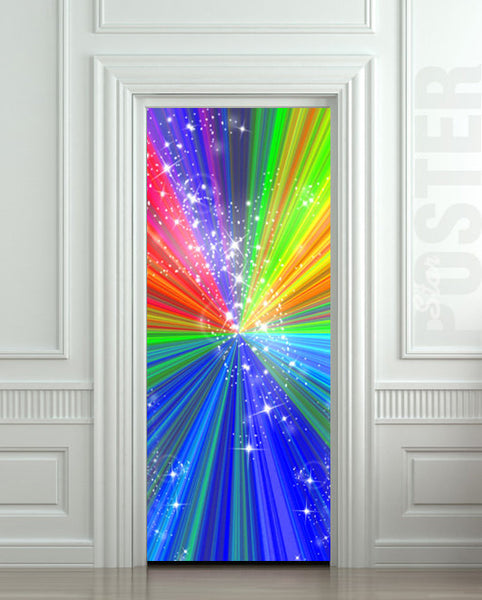 "Door STICKER rainbow outer cosmos abstraction space mural decole film self-adhesive poster 30""x79""(77x200 cm) - Pulaton stickers and posters  - 1"