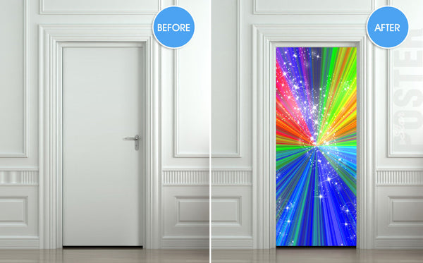 "Door STICKER rainbow outer cosmos abstraction space mural decole film self-adhesive poster 30""x79""(77x200 cm) - Pulaton stickers and posters  - 2"