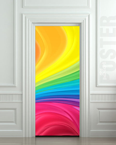 "Door STICKER nursery rainbow outer cosmos abstraction space mural decole film self-adhesive poster 30""x79""(77x200 cm) - Pulaton stickers and posters  - 1"