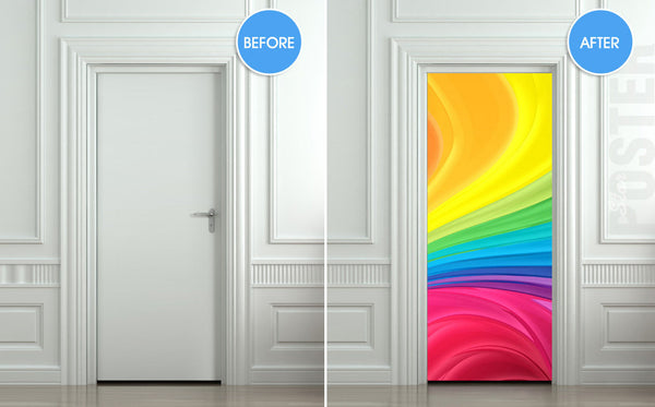 "Door STICKER nursery rainbow outer cosmos abstraction space mural decole film self-adhesive poster 30""x79""(77x200 cm) - Pulaton stickers and posters  - 2"