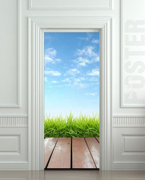 "Door STICKER landscape cloud grass village exit natural mural decole film self-adhesive poster 30""x79""(77x200 cm) - Pulaton stickers and posters  - 1"