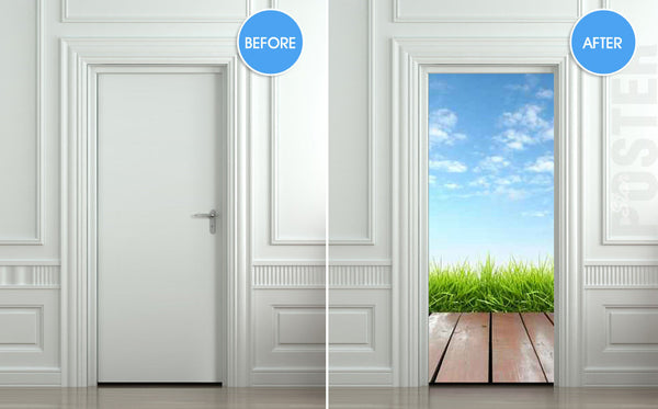 "Door STICKER landscape cloud grass village exit natural mural decole film self-adhesive poster 30""x79""(77x200 cm) - Pulaton stickers and posters  - 2"