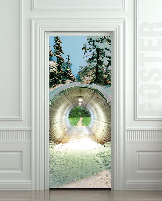 "Door STICKER tunnel weather landscape nature fantasy mural decole film self-adhesive poster 30""x79""(77x200 cm) - Pulaton stickers and posters  - 1"
