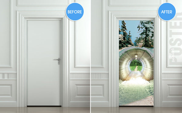 "Door STICKER tunnel weather landscape nature fantasy mural decole film self-adhesive poster 30""x79""(77x200 cm) - Pulaton stickers and posters  - 2"