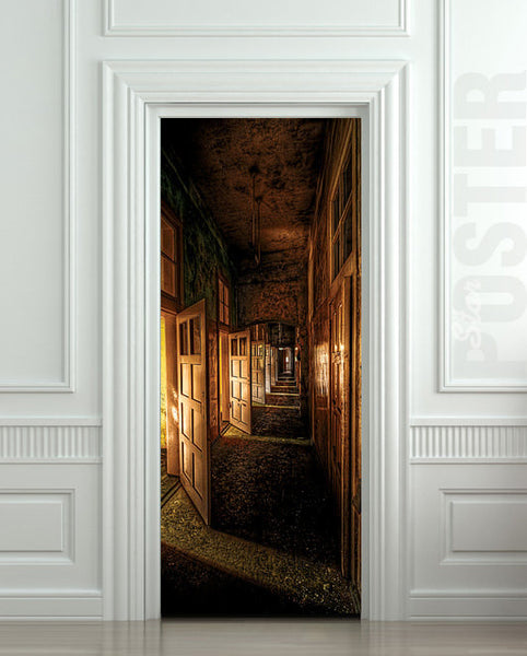 "Door STICKER corridor hall hallway entrance mural decole film self-adhesive poster 30""x79""(77x200 cm) - Pulaton stickers and posters  - 1"