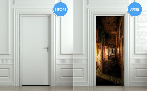 "Door STICKER corridor hall hallway entrance mural decole film self-adhesive poster 30""x79""(77x200 cm) - Pulaton stickers and posters  - 2"