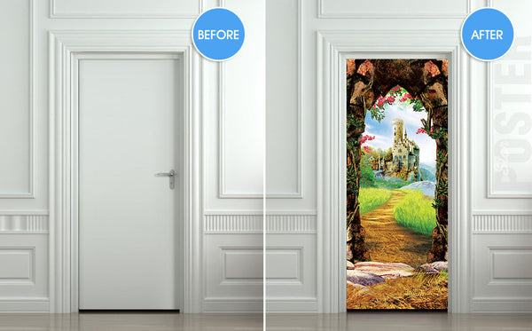 "Door STICKER castle cave cavern grotto mural decole film self-adhesive poster 30""x79""(77x200 cm) - Pulaton stickers and posters  - 2"