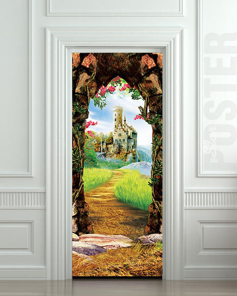 "Door STICKER castle cave cavern grotto mural decole film self-adhesive poster 30""x79""(77x200 cm) - Pulaton stickers and posters  - 1"