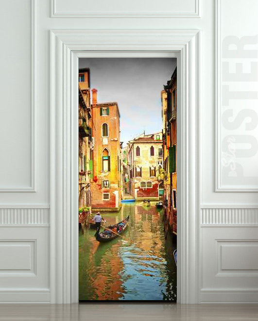 "Door STICKER Venice river gondola city travel mural decole film self-adhesive poster 30""x79""(77x200 cm) - Pulaton stickers and posters  - 1"