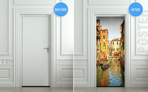 "Door STICKER Venice river gondola city travel mural decole film self-adhesive poster 30""x79""(77x200 cm) - Pulaton stickers and posters  - 2"