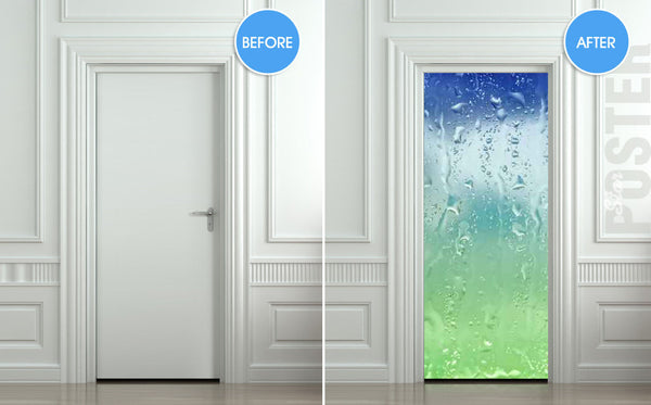 "Door STICKER drops rain window dew mural decole film self-adhesive poster 30""x79""(77x200 cm) - Pulaton stickers and posters  - 2"