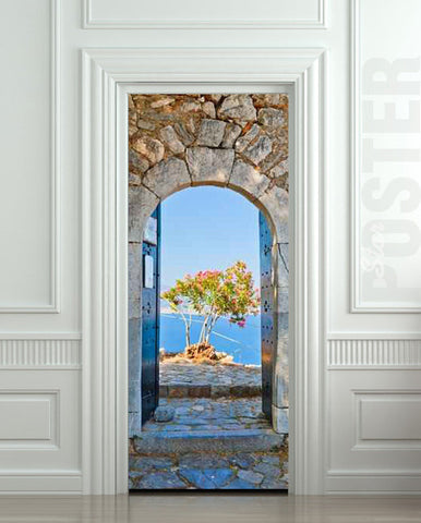 "Door STICKER Greece health resort travel landscape mural decole film self-adhesive poster 30""x79""(77x200 cm) - Pulaton stickers and posters  - 1"
