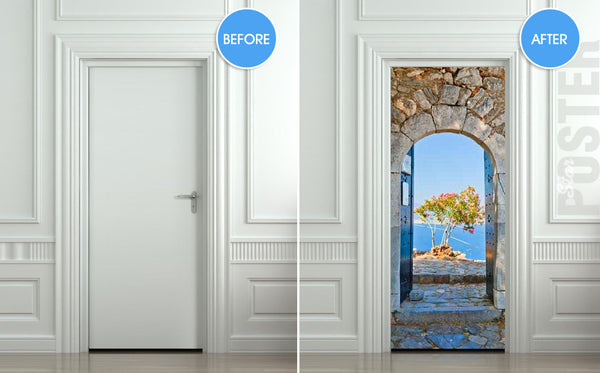 "Door STICKER Greece health resort travel landscape mural decole film self-adhesive poster 30""x79""(77x200 cm) - Pulaton stickers and posters  - 2"