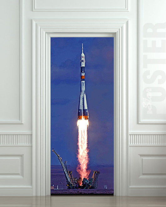 "Door STICKER rocket space start aero mural decole film self-adhesive poster 30""x79""(77x200 cm) - Pulaton stickers and posters  - 1"