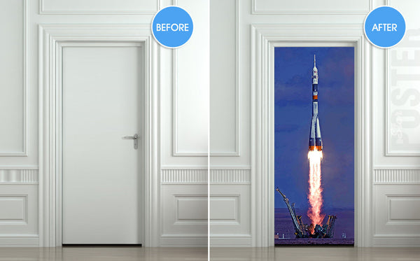 "Door STICKER rocket space start aero mural decole film self-adhesive poster 30""x79""(77x200 cm) - Pulaton stickers and posters  - 2"