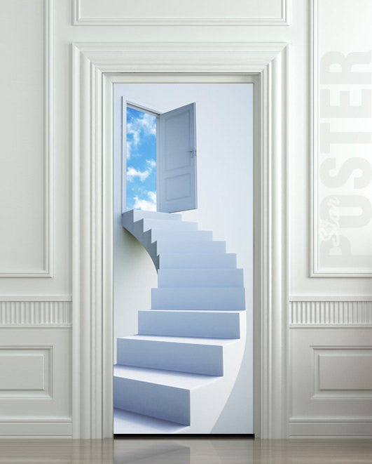 "Door STICKER stairs flight sky heaven mural decole film self-adhesive poster 30""x79""(77x200 cm) - Pulaton stickers and posters  - 1"