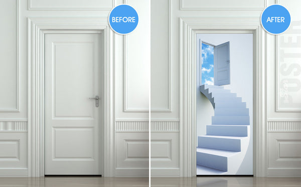 "Door STICKER stairs flight sky heaven mural decole film self-adhesive poster 30""x79""(77x200 cm) - Pulaton stickers and posters  - 2"