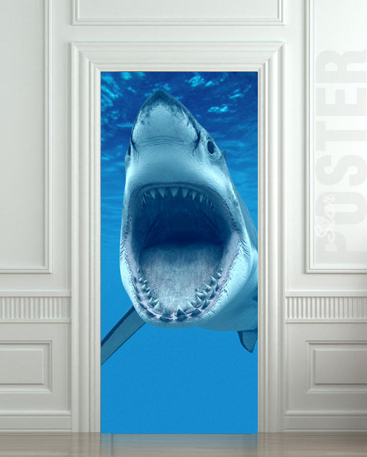 "Door STICKER shark sea ocean wilderness animal mural decole film self-adhesive poster 30""x79""(77x200 cm) - Pulaton stickers and posters"