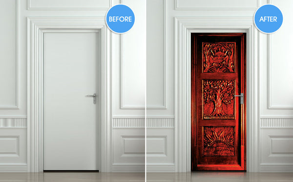Door STICKER wardrobe Gateway to another world fantasy antique mural decole film self-adhesive poster - Pulaton stickers and posters  - 2