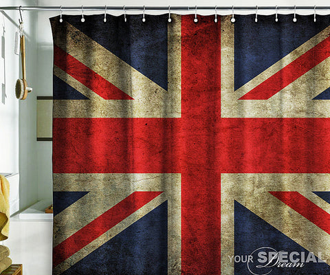 Shower Bath Curtain British flag UK banner London Great Britain grunge - Pulaton stickers and posters