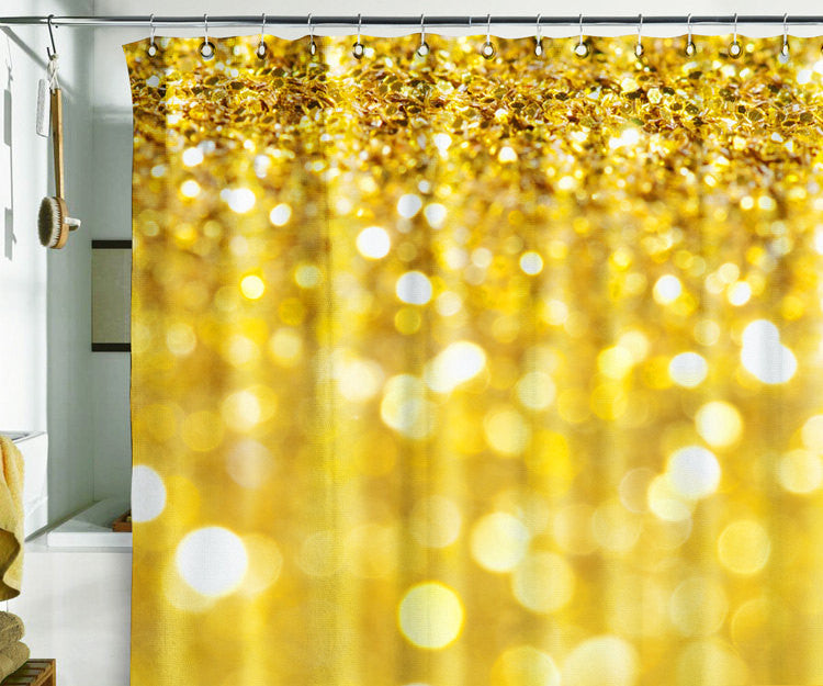 Bath Shower Curtain bling glitter sparks shimmer gold - Pulaton stickers and posters