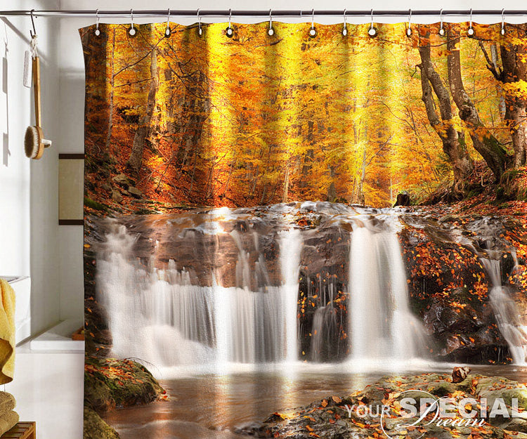 Bath Shower Curtain gold autumn waterfall cataract fall - Pulaton stickers and posters
