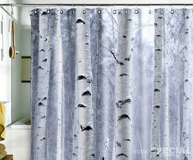Bath Shower Curtain tree shade birch forest wood - Pulaton stickers and posters