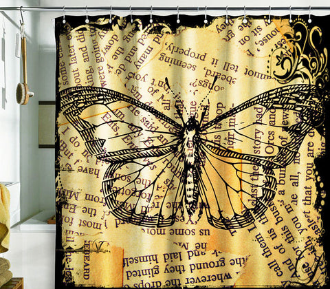 Bath Shower Curtain butterfly newspaper art nature grunge gold - Pulaton stickers and posters