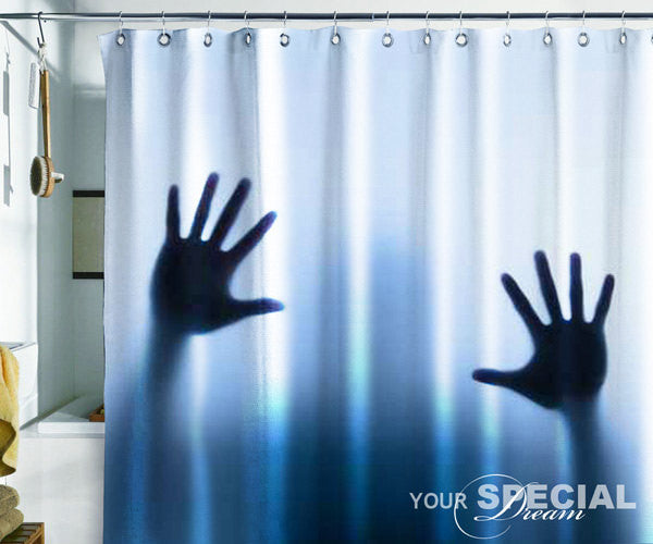 Bath Shower Curtain hands horror scream phantom ghost film cinema horror - Pulaton stickers and posters