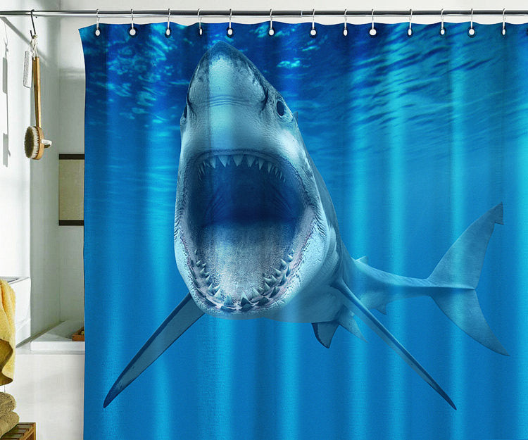 Bath Shower Curtain shark ocean diving jaw jaw-bone maxilla mandible - Pulaton stickers and posters