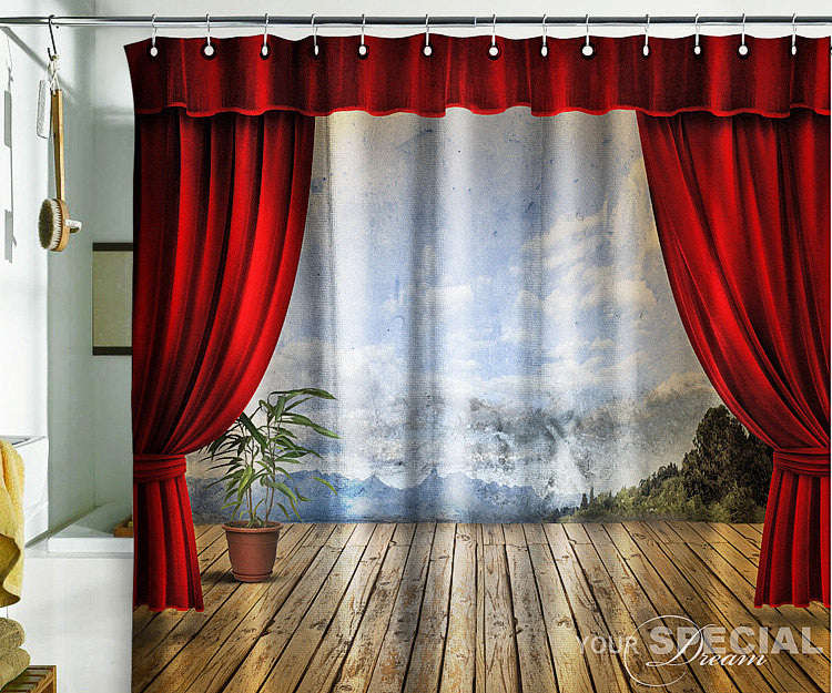 Bath Shower Curtain stage 3D theatre - Pulaton stickers and posters