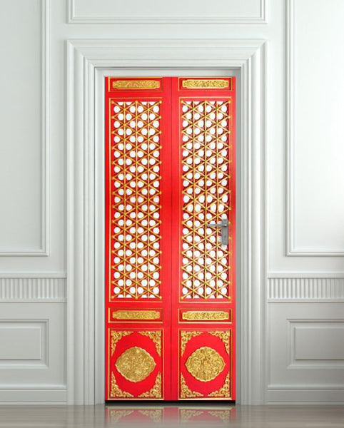 "Door STICKER asian door ornamental pattern design mural decole film self-adhesive poster 30""x79""(77x200 cm) - Pulaton stickers and posters  - 1"
