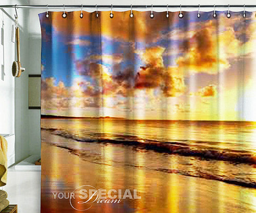 Bath Shower Curtain sunset sandy beach nature beach - Pulaton stickers and posters