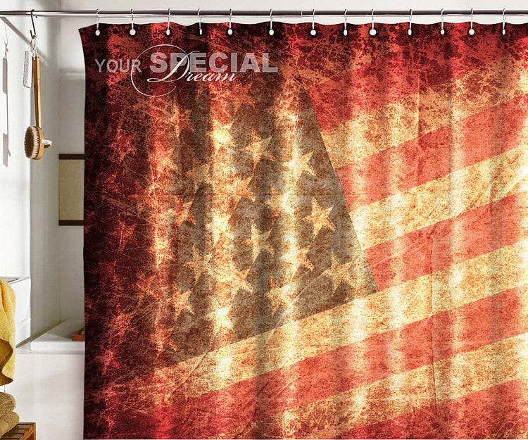 Bath Shower Curtain USA flag under united state of America - Pulaton stickers and posters