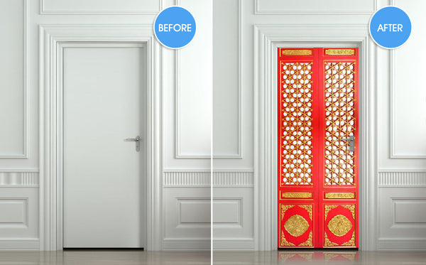 "Door STICKER asian door ornamental pattern design mural decole film self-adhesive poster 30""x79""(77x200 cm) - Pulaton stickers and posters  - 2"
