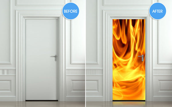 "Door STICKER fire fireman 911 flame flare blaze mural decole film self-adhesive poster 30""x79""(77x200 cm) - Pulaton stickers and posters  - 2"